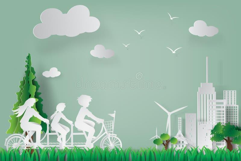 Papierowa sztuka ziemski dzień i światowego środowiska dzień z rodziną royalty ilustracja