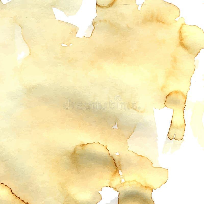 Papierowa tekstura z brown kawą plami i punkty ilustracja wektor