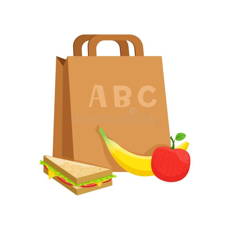 Papierowa torba z kanapką, banan, jabłko, szkolnego lunchu pudełko, jedzenie dla dzieciaków i uczeń wektorowa ilustracja na bielu ilustracji
