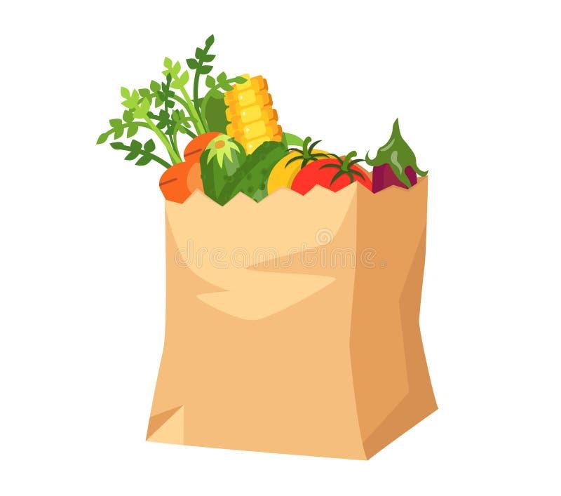 Papierowa torba z warzywami groceries ilustracja wektor