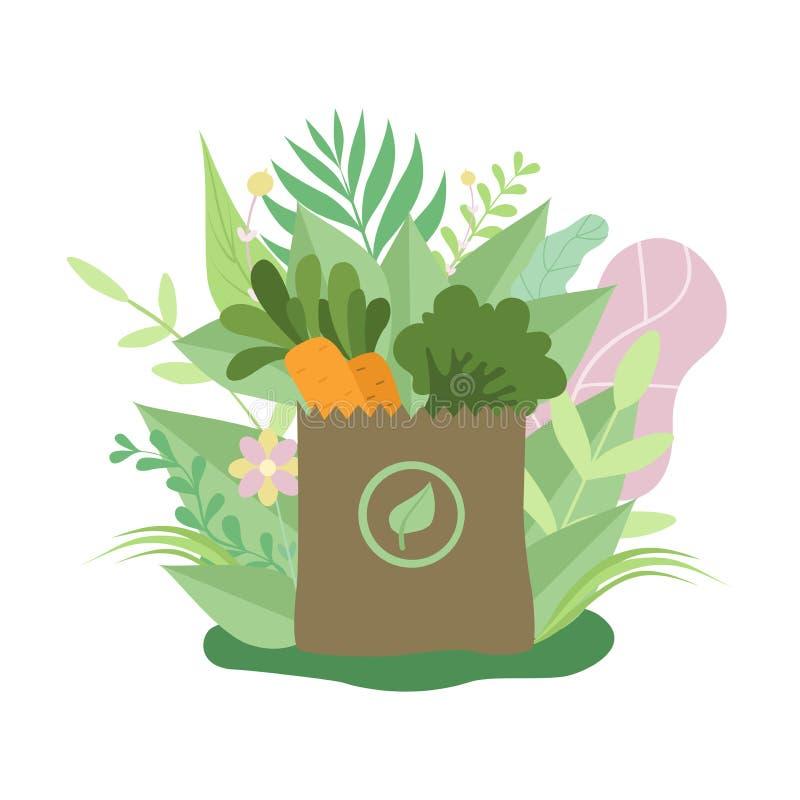 Papierowa torba z Zdrowym jedzeniem, Eco Życzliwym Pakować Otaczającym Zieloną trawą i kwiatu wektoru ilustracją, ilustracji