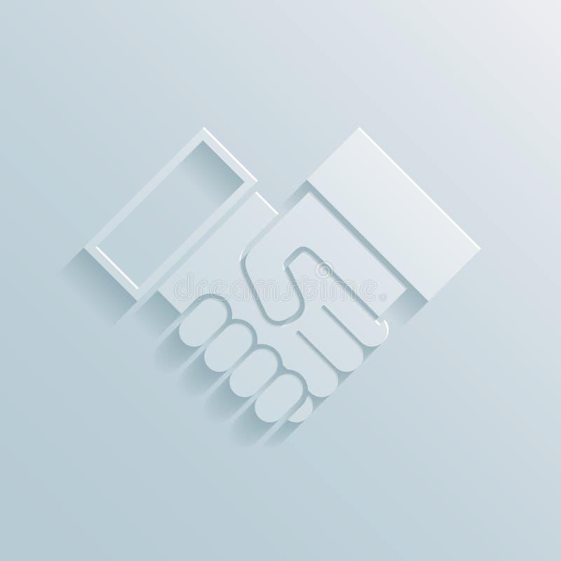 Papierowa uścisk dłoni ikona ilustracji