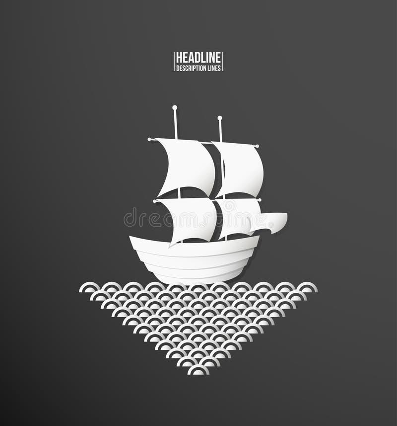 Papierowa wycinanka Statek ilustracja wektor
