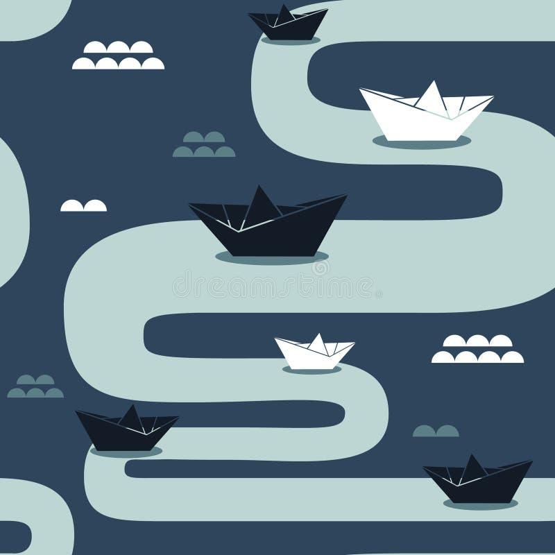 Papierowe łodzie, bezszwowy wzór ilustracja wektor