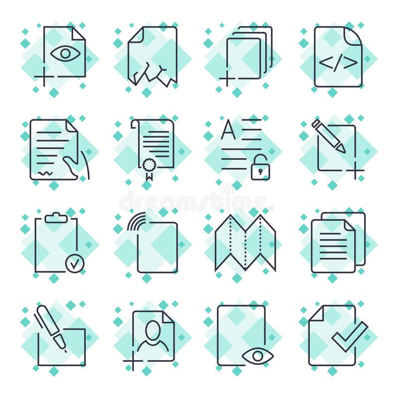 Papierowe ikony, dokument ikony, wektor EPS10 Editable uderzenie ilustracja wektor