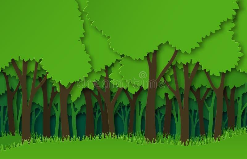 Papierowe lasowe Zielonego papieru drzew rżnięte sylwetki, naturalny płatowaty krajobraz 3d origami ekosystemu abstrakcjonistyczn ilustracja wektor