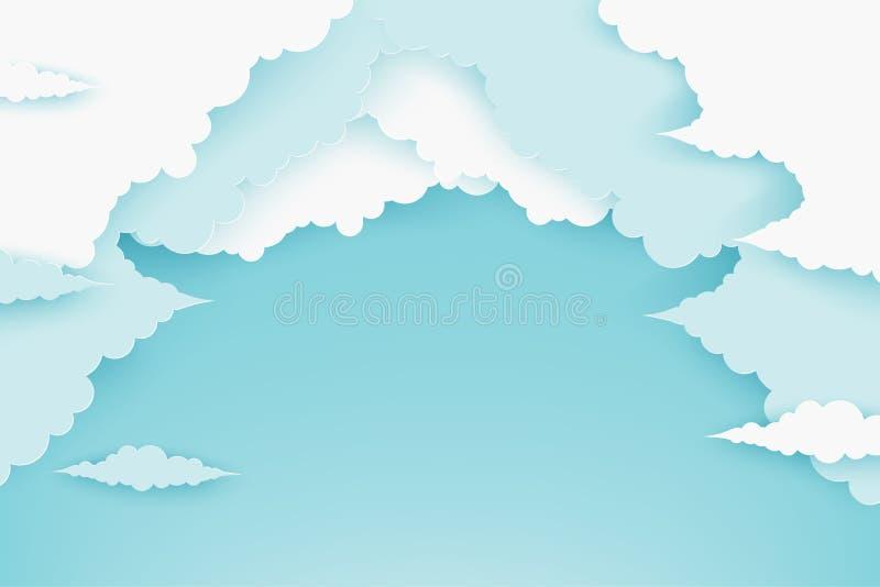 Papierowe puszyste chmury w niebieskim niebie Nowożytny 3d papieru cięcia stylu backg royalty ilustracja