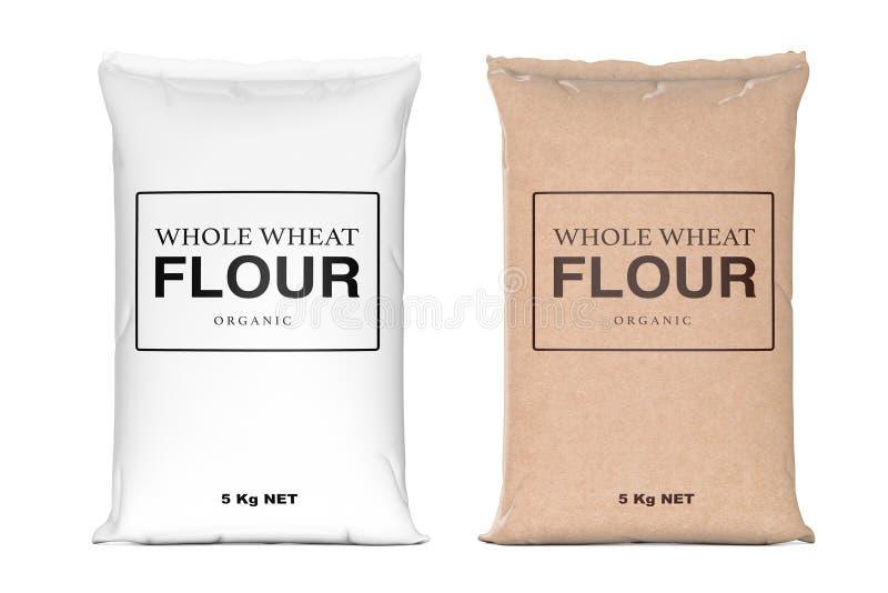 Papierowe torby Cała Pszeniczna Organicznie mąka świadczenia 3 d ilustracja wektor