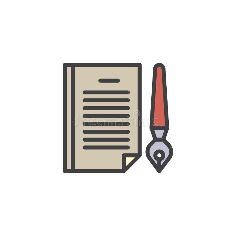 Papierowego dokumentu i atramentu pióro wypełniający zarysowywa ikonę ilustracja wektor