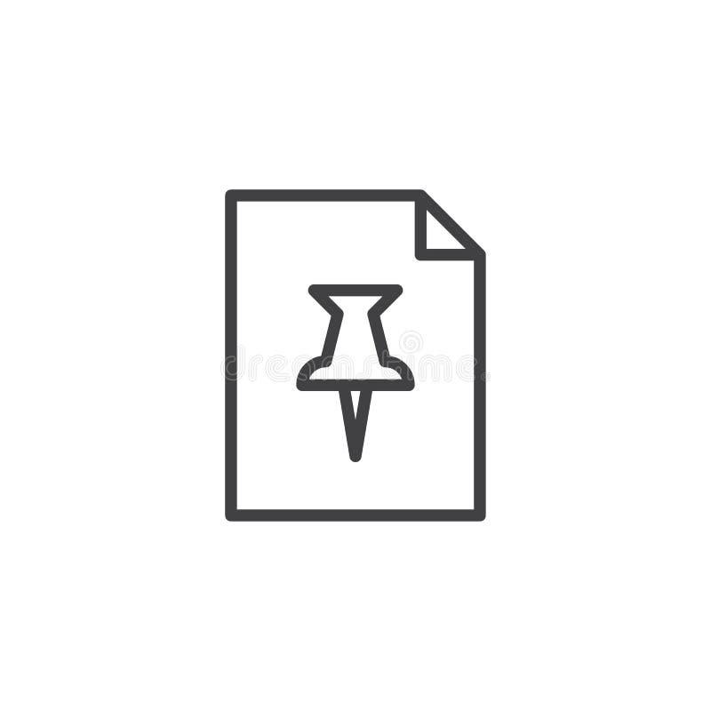 Papierowego dokumentu i pushpin konturu ikona ilustracja wektor