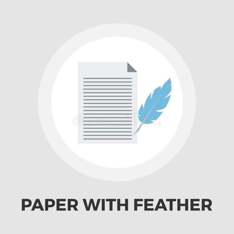 Papierowego i ptasiego piórka pióra ikony mieszkanie ilustracji