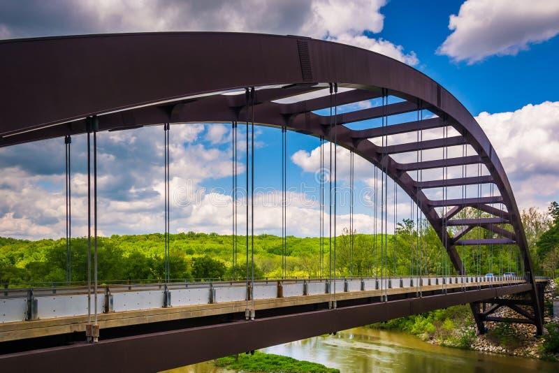Papierowego młynu drogi most nad Loch kruka rezerwuarem w Baltimor zdjęcia stock
