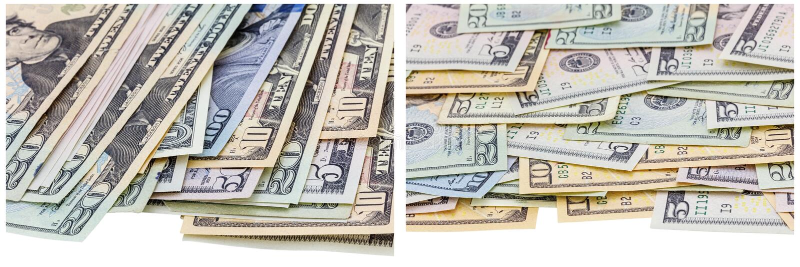 Papierowego pieniądze rachunków krawędzi bielu kolaż obrazy stock