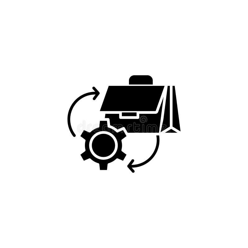 Papierowego przepływu czerni ikony pojęcie Papierowego przepływu płaski wektorowy symbol, znak, ilustracja ilustracja wektor
