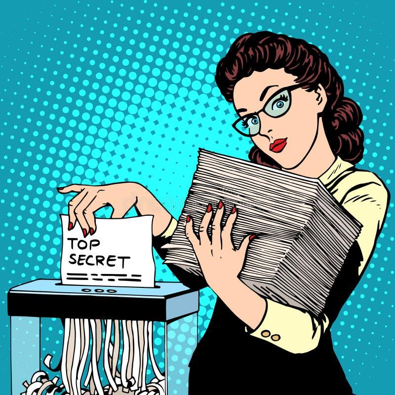 Papierowego rozdrabniacza ściśle tajny dokument niszczy ilustracji