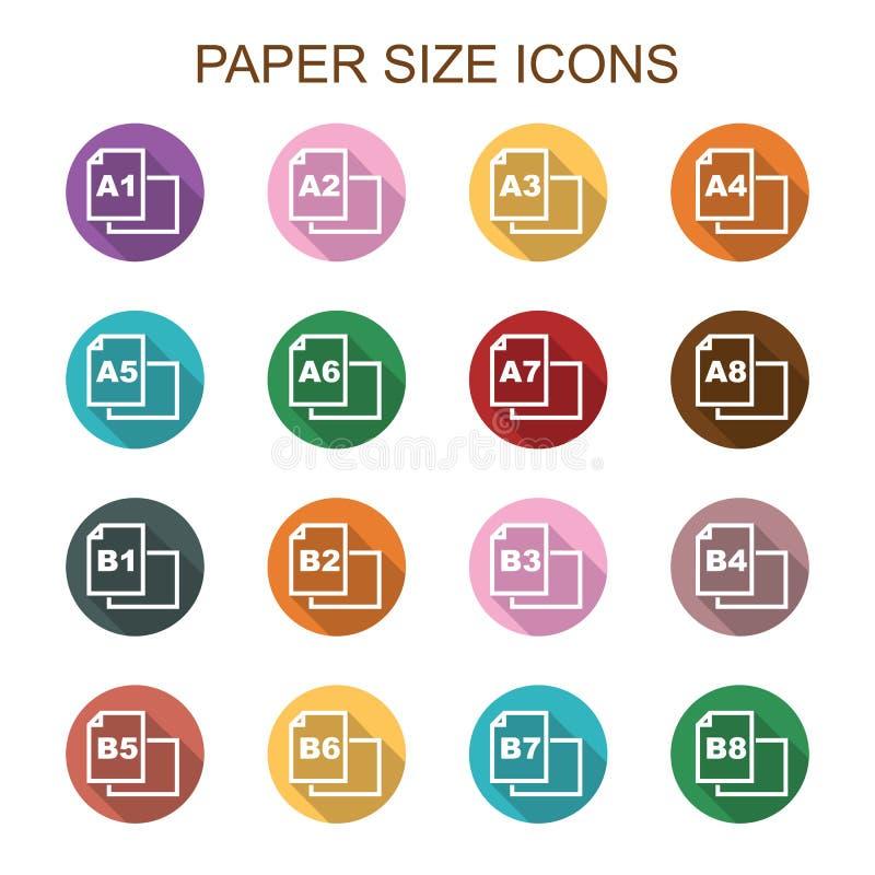 Papierowego rozmiaru cienia długie ikony royalty ilustracja