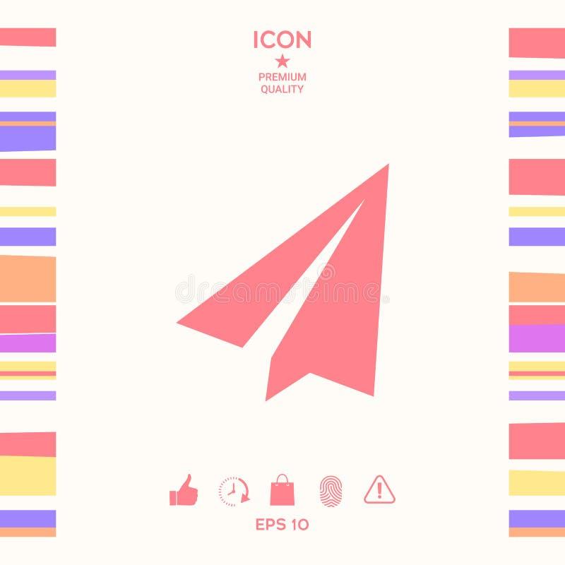 Papierowego samolotu ikona ilustracji