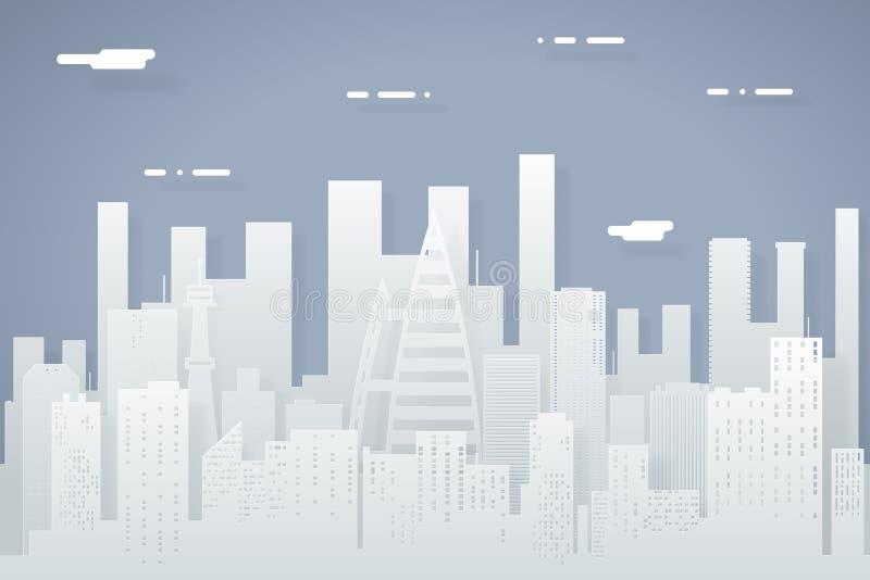 Papierowego sylwetki miasta Real Estate letniego dnia Bezszwowego Miastowego Krajobrazowego tła projekta pojęcia ikony Płaski sza ilustracji