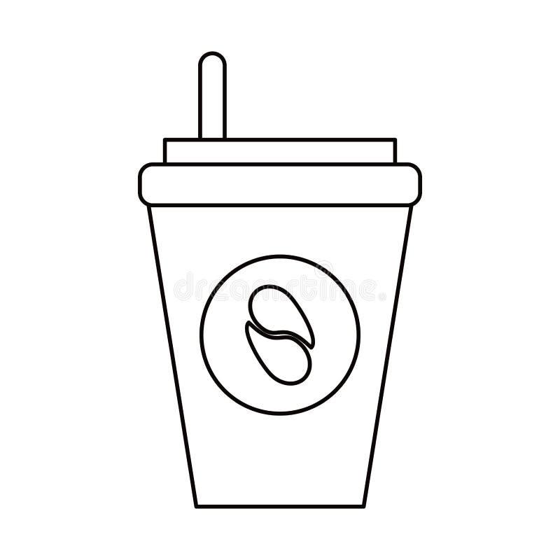 papierowej filiżanki kawa iść kontur ilustracji