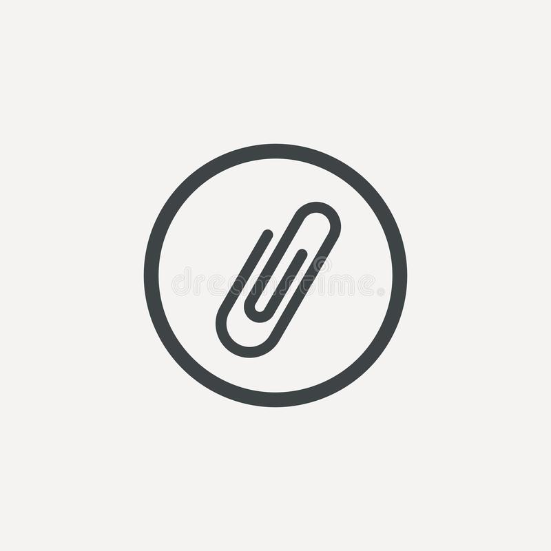 Papierowej klamerki ikona w modnym mieszkanie stylu odizolowywającym na popielatym tle Papierowej klamerki ikony strony symbol dl ilustracji