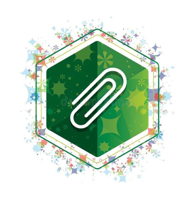 Papierowej klamerki ikony rośliien wzoru zieleni sześciokąta kwiecisty guzik ilustracja wektor