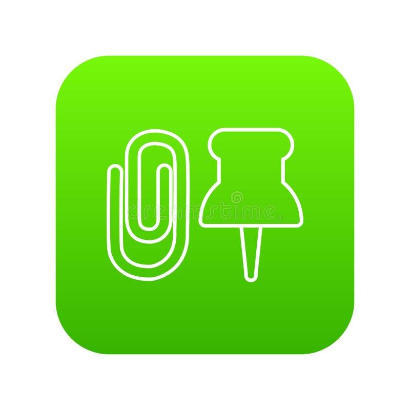 Papierowej klamerki ikony zieleni wektor ilustracja wektor