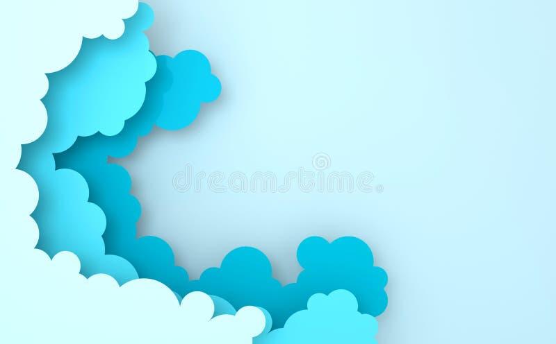 Papierowej sztuki chmur kolorowy puszysty t?o z miejscem dla teksta Nowożytni 3d odpłacają się origami papierowy sztuka styl Samo zdjęcia stock