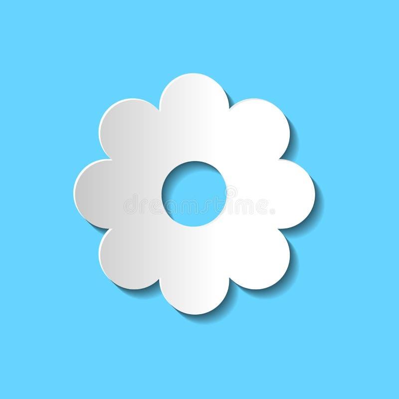 Papierowej sztuki kwiatu wektorowa ikona; biały papierowego kwiatu znak na błękitnych półdupkach royalty ilustracja