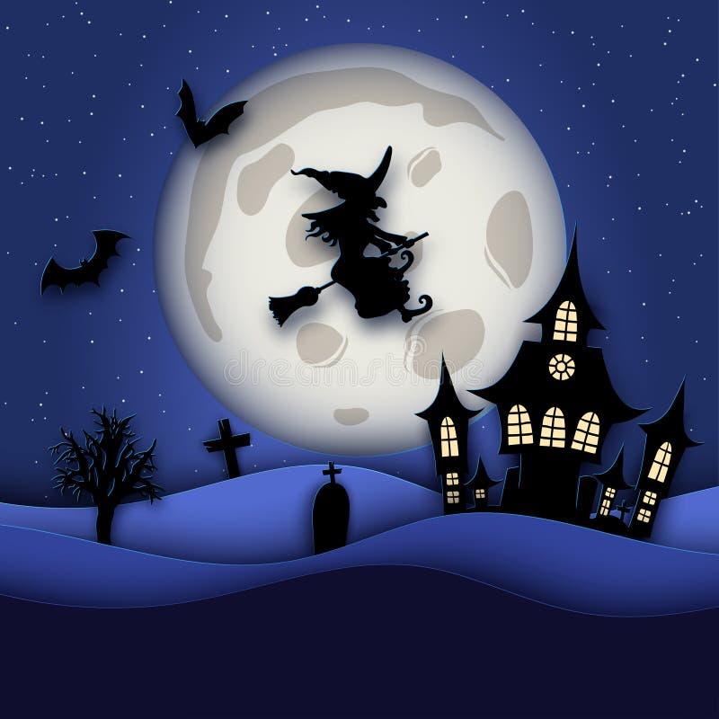 Papierowej sztuki nocy Halloweenowy tło z nawiedzającym domem, nietoperz, gr zdjęcie royalty free