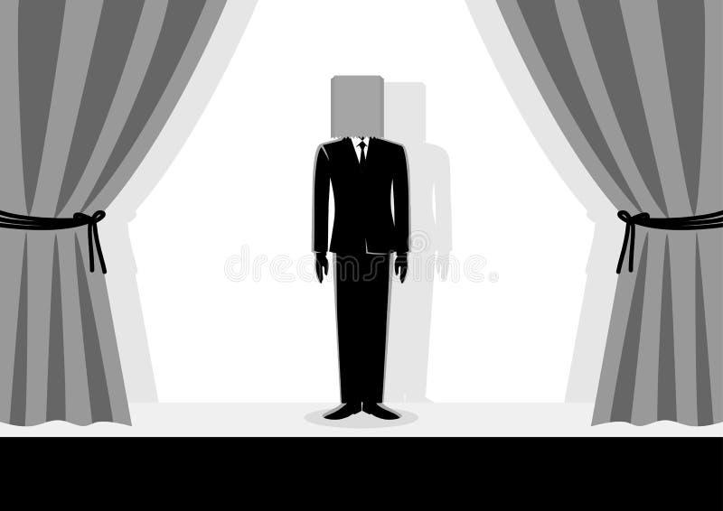 Papierowej torby głowy biznesmen ilustracja wektor