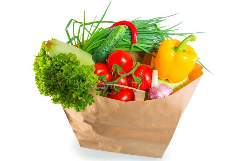 Papierowej torby rondo pełno zdrowy jedzenie fotografia stock