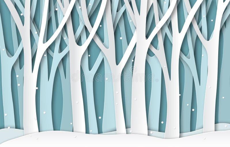 Papierowej zimy drzew lasowe Białe marznąć sylwetki, boże narodzenie sezonu papieru cięcia naturalny krajobraz 3d origami wektor ilustracja wektor