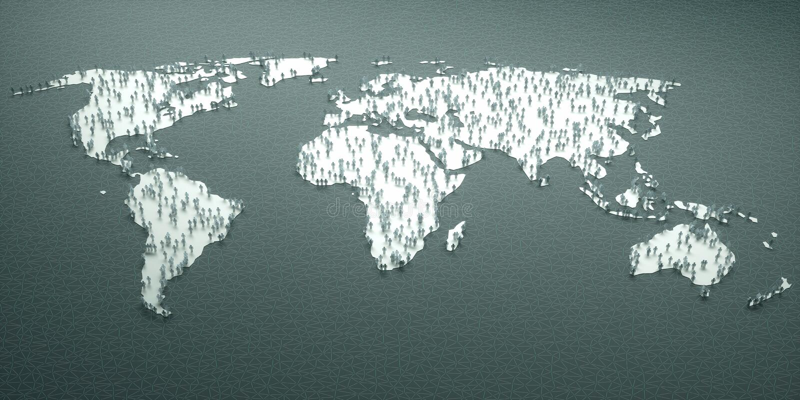 Papierowi ludzie świat statystyk royalty ilustracja
