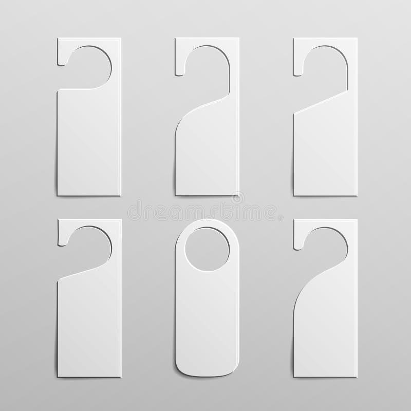 Papierowi Plastikowi Drzwiowej rękojeści kędziorka wieszaki Czyści Drzwiowego wieszaka etykietki Dla pokoju W hotelu, schronisko, royalty ilustracja