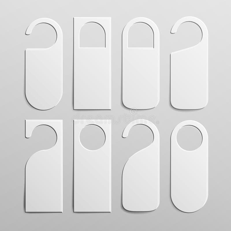 Papierowi Plastikowi Drzwiowej rękojeści kędziorka wieszaki Ustawiający Realistyczny Biały puste miejsce Opróżnia Próbny up nie p royalty ilustracja