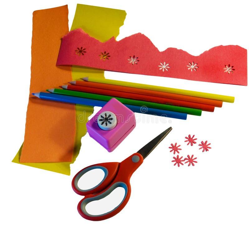 papierowi scrapbooking narzędzia zdjęcia stock