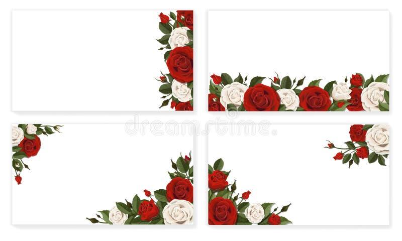 Papierowi szkotowi czerwoni biel róży kwiaty royalty ilustracja