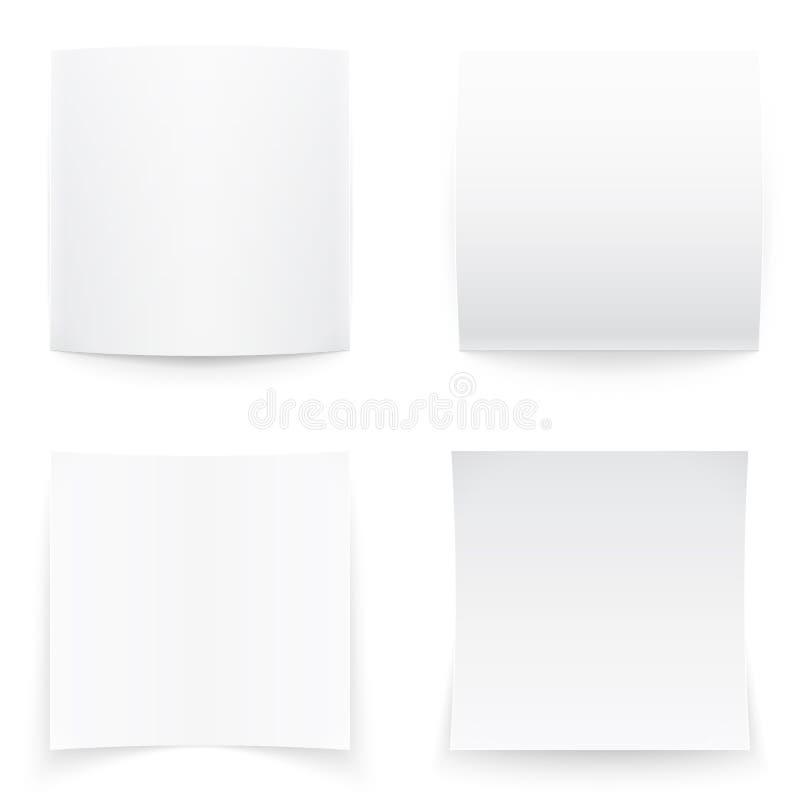 Papierowi sztandary na białym tle, miękka część ocieniają. ilustracji