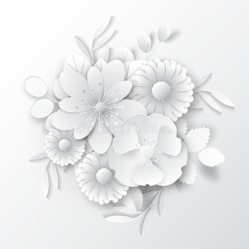 Papierowi sztuka kwiaty Papierowy sztuka kwiatów projekt dla sztandarów, karty Wektoru zapas zdjęcia stock