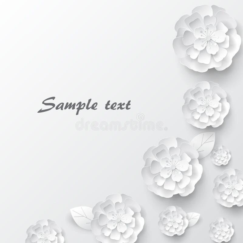Papierowi sztuka kwiaty Papierowy sztuka kwiatów projekt dla sztandarów, karty Wektoru zapas fotografia stock
