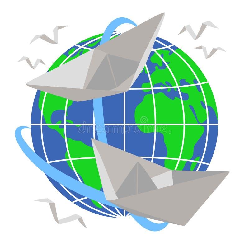 Papierowy łódź żagiel wokoło planety ziemi ilustracji
