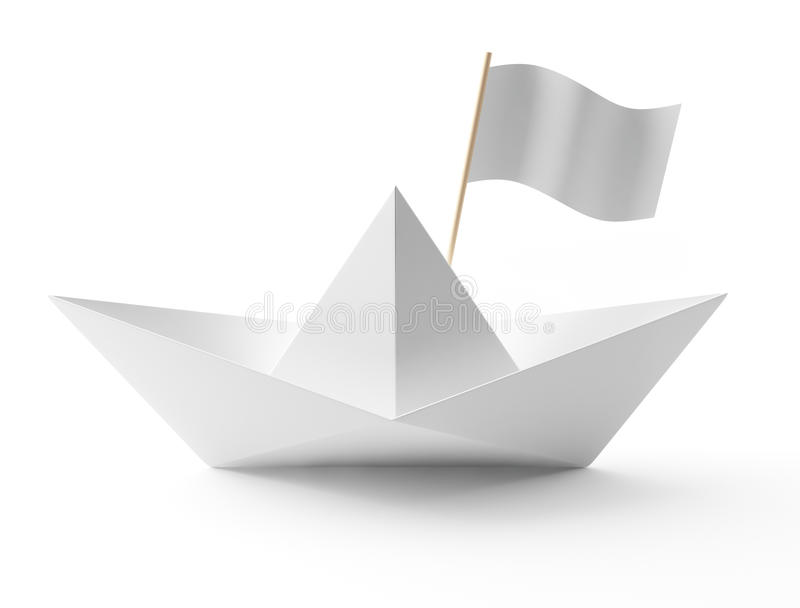 papierowy łódź biel ilustracji