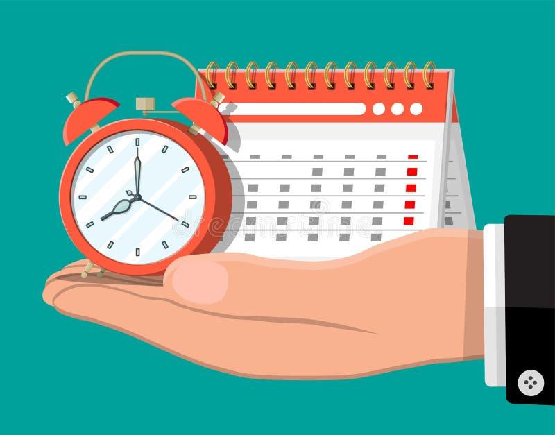Papierowy ślimakowaty ścienny kalendarz i zegary w ręce ilustracja wektor