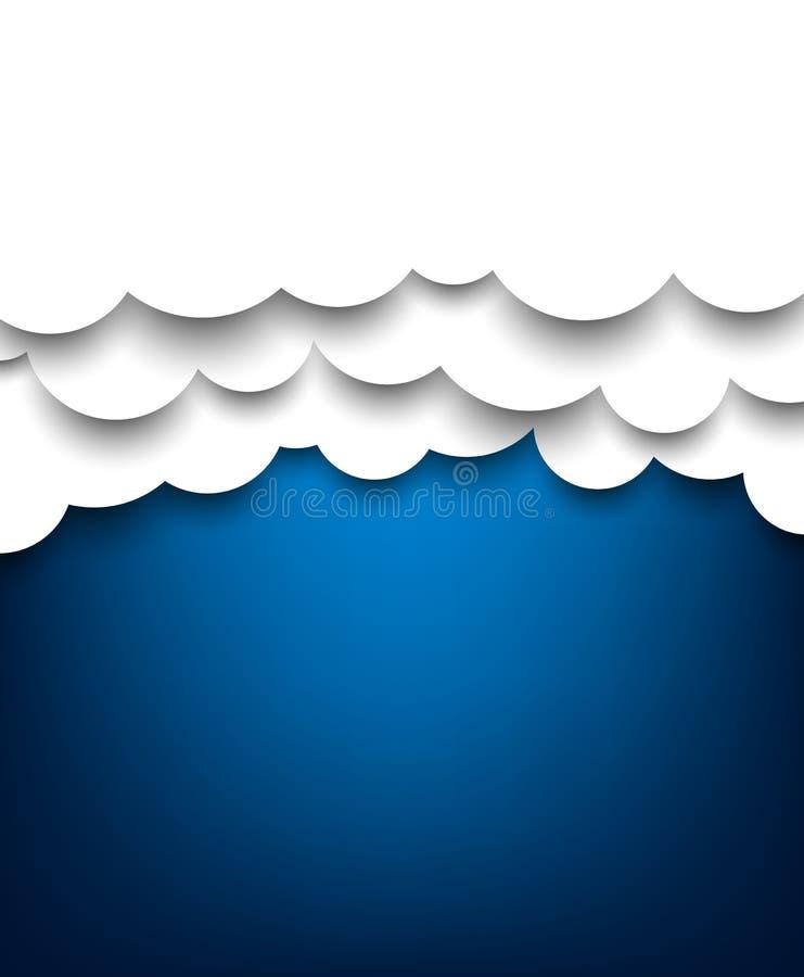 Papierowy biel chmurnieje na błękicie. royalty ilustracja