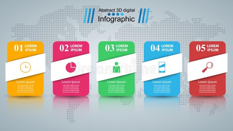 Papierowy biznesowy infographic Pięć rzeczy ilustracji