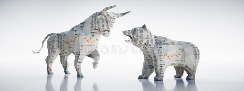 Papierowy byk i niedźwiedź - pojęcia rynek papierów wartościowych ilustracja wektor