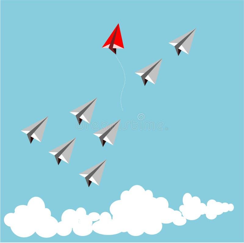 Papierowy czerwony samolot jako lider wśród białego samolotu ilustracja wektor