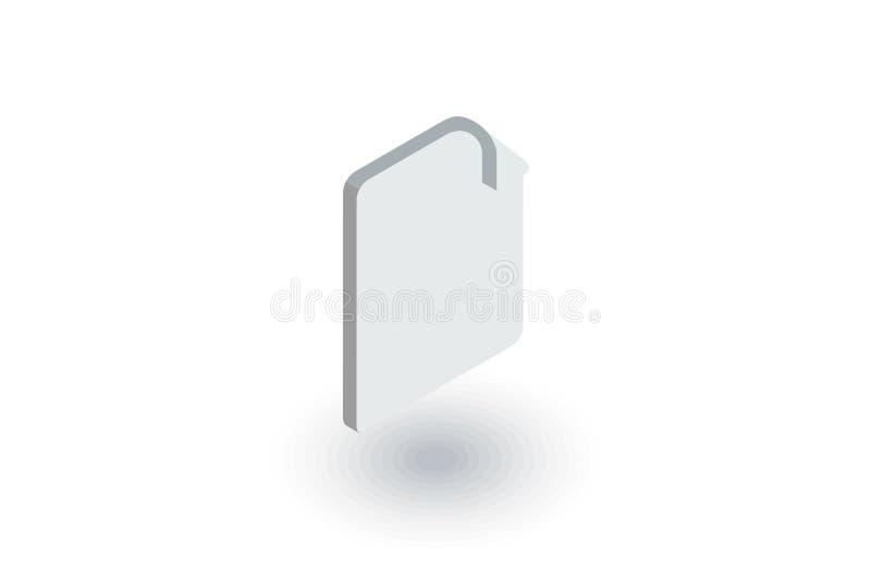 Papierowy dokument, segreguje isometric płaską ikonę 3d wektor ilustracja wektor
