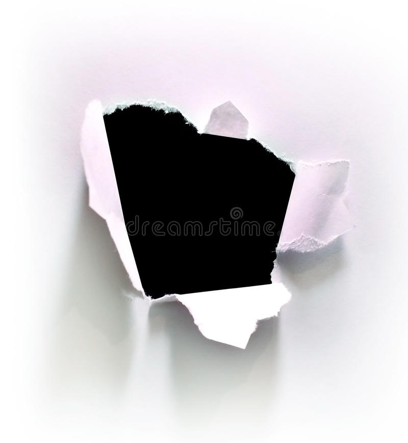 papierowy dziura biel obraz royalty free