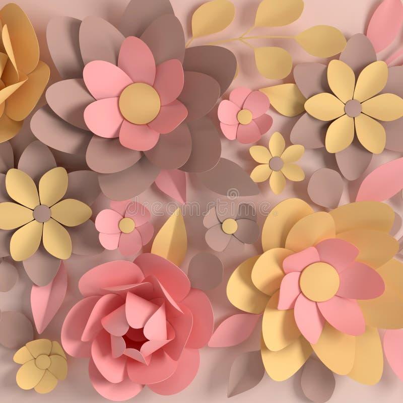 Papierowy elegancki pastel barwiący kwitnie na beżowym tle Walentynka dzień, wielkanoc, matka dzień, ślubna kartka z pozdrowienia royalty ilustracja